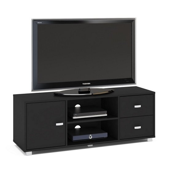 Lorusso Wooden TV Stand In Black High Gloss With 1 Door_2