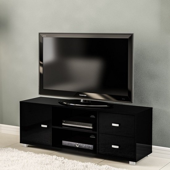 Lorusso Wooden TV Stand In Black High Gloss With 1 Door