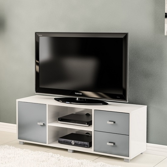 Lorusso Wooden TV Stand In White And Grey High Gloss