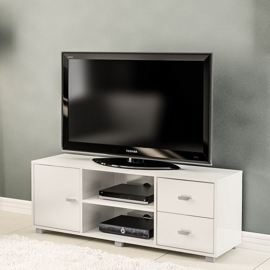 Lorusso Wooden TV Stand In White High Gloss With 1 Door