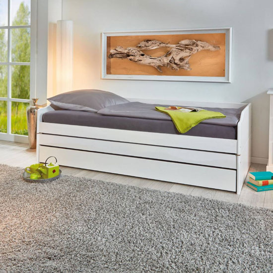 Lotar 2 Wooden Function Single Bed In White