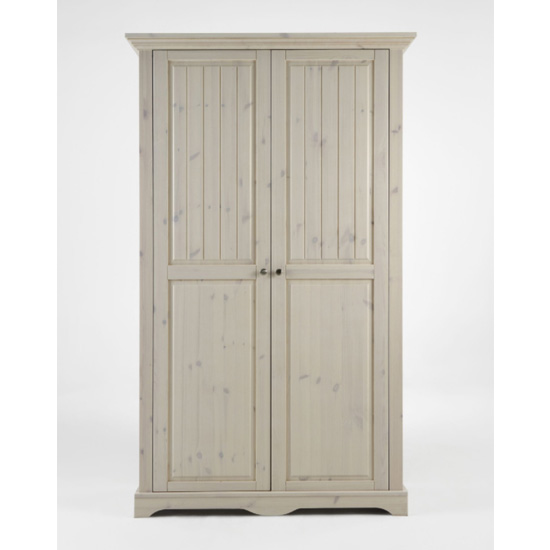 Lotta Wooden Wardrobe In White Wash With 2 Doors
