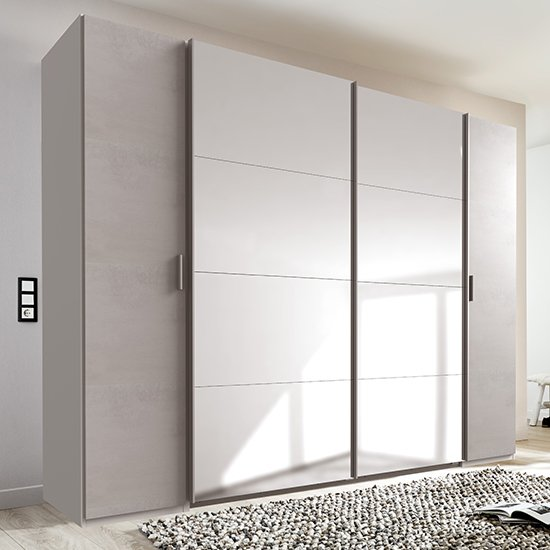 Lotto Mirrored Sliding Door Wardrobe In White And Light Grey