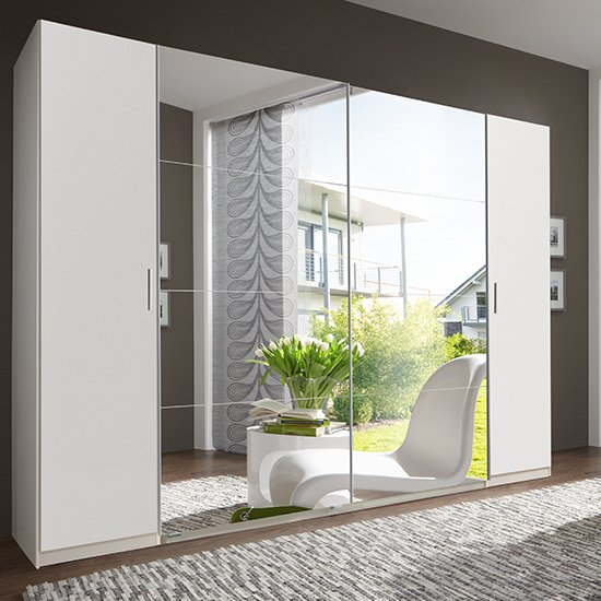 Lotto Mirrored Sliding Doors Wardrobe In White