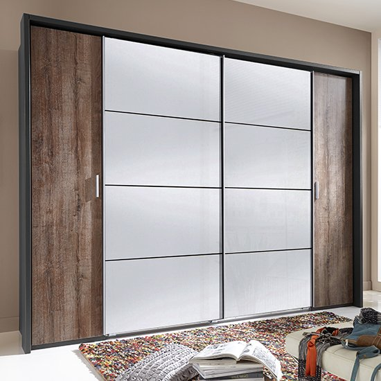 Lotto Sliding Door Mirrored Wardrobe In Graphite And Muddy Oak