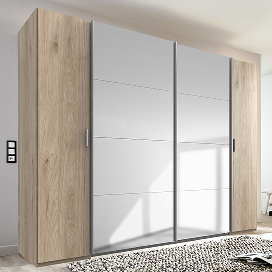 Lotto Sliding Door Mirrored Wardrobe In Hickory Oak