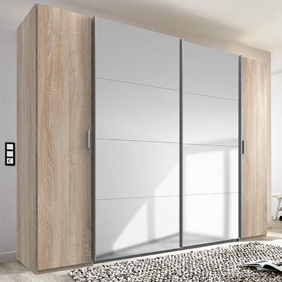 View Lotto sliding door mirrored wardrobe in oak and white