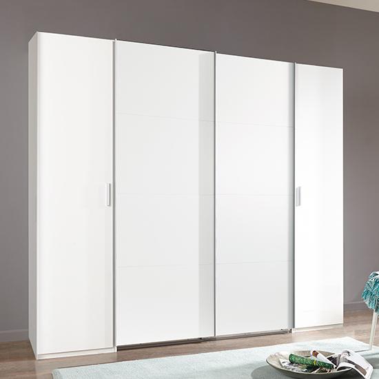 View Lotto sliding door wooden wardrobe in white