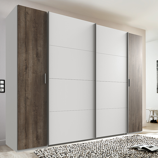 Lotto Sliding Door Wooden Wide Wardrobe In White And Muddy Oak