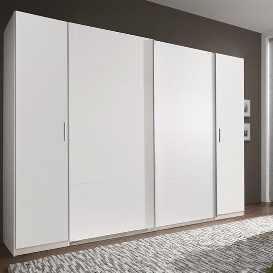 View Lotto wooden sliding door wardrobe in white