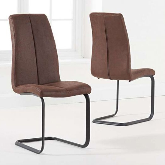 Louis Antique Brown Fabric Dining Chairs With Hoop Leg In A Pair