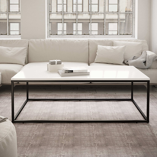 Product photograph showing Louis Rectangular Coffee Table In White High Gloss