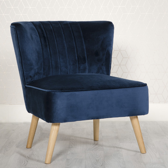 Louis Velvet Upholstered Lounge Chair In Blue