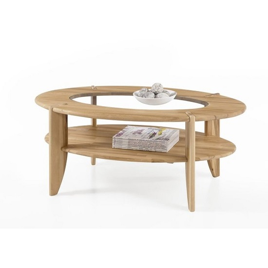 Louisa Wooden Coffee Table In Core Beech With Glass Top