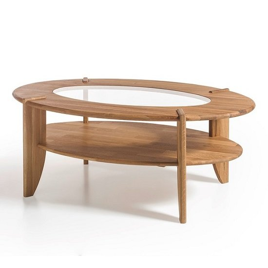 Louisa Wooden Coffee Table In Knotty Oak With Glass Top