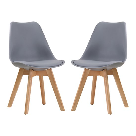 Louvre Grey Finish Dining Chairs In Pair