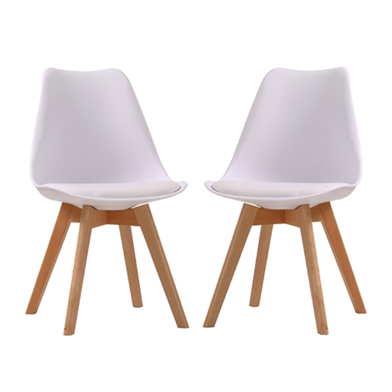 Louvre White Finish Dining Chairs In Pair