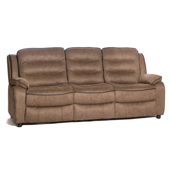 Lovell Fabric Recliner 3 Seater Sofa In Caramel