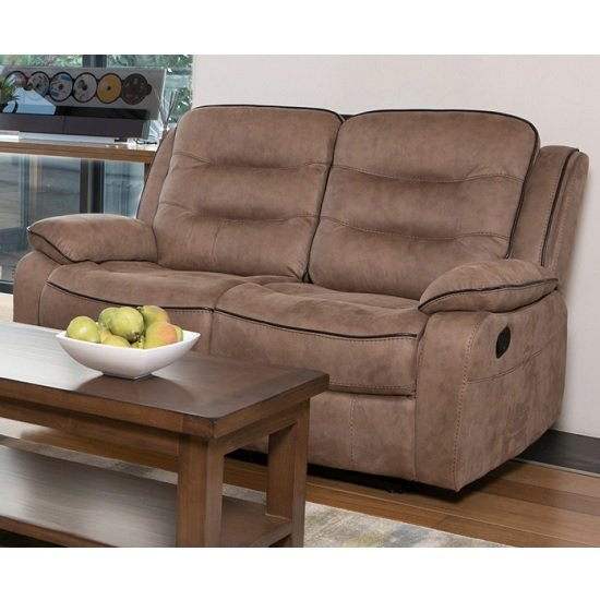 Lovell Fabric Recliner 2 Seater Sofa In Brown