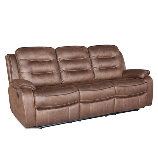 Lovell Fabric Recliner 3 Seater Sofa In Brown