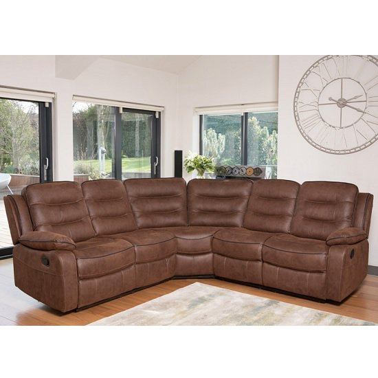 Lovell Fabric Recliner Corner Sofa In Brown