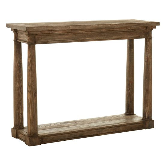 Lovito Wooden Console Table In Rustic Teak