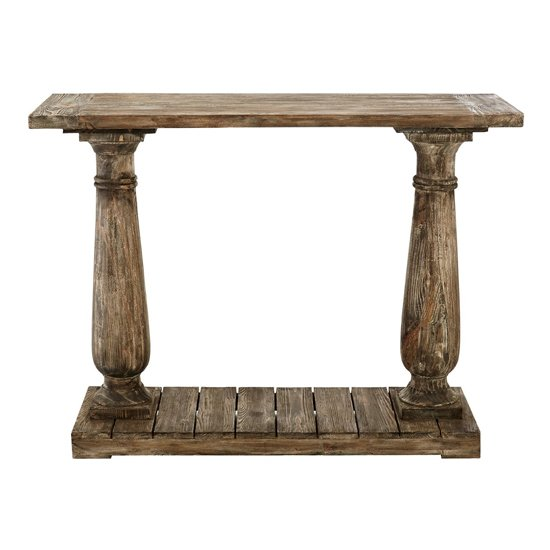 Lovito Wooden Pillars Console Table In Rustic Teak_2