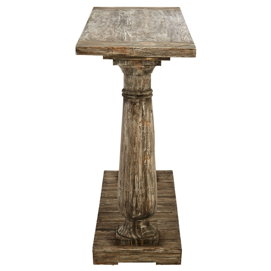 Lovito Wooden Pillars Console Table In Rustic Teak_3