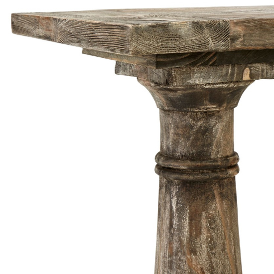 Lovito Wooden Pillars Console Table In Rustic Teak_5