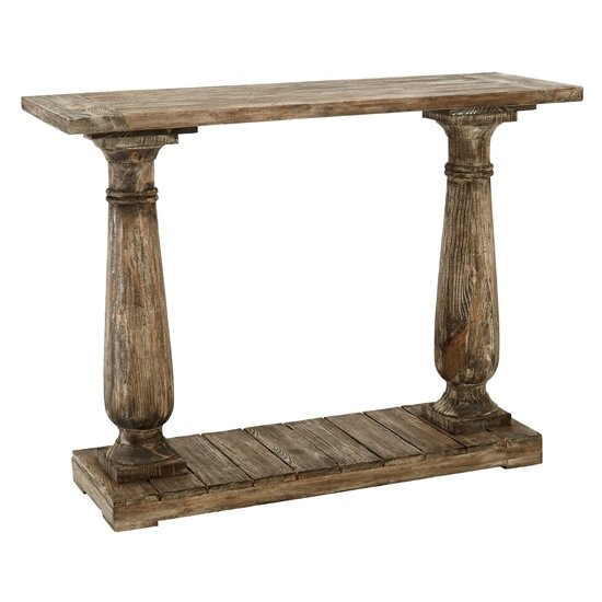 Lovito Wooden Pillars Console Table In Rustic Teak_1