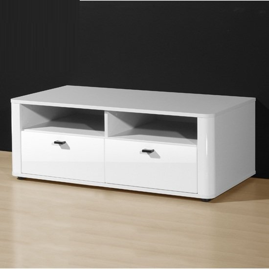 Genesis plasma tv stand in white high gloss with sliding doo for White plasma tv stands