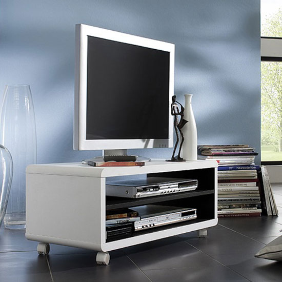 View Jeff7 lowboard lcd tv stand in white and black with wheels