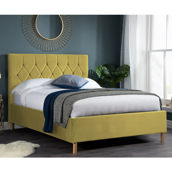 Loxley Fabric Upholstered Small Double Bed In Mustard