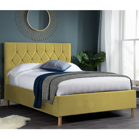 Loxley Fabric Upholstered Small Double Ottoman Bed In Mustard