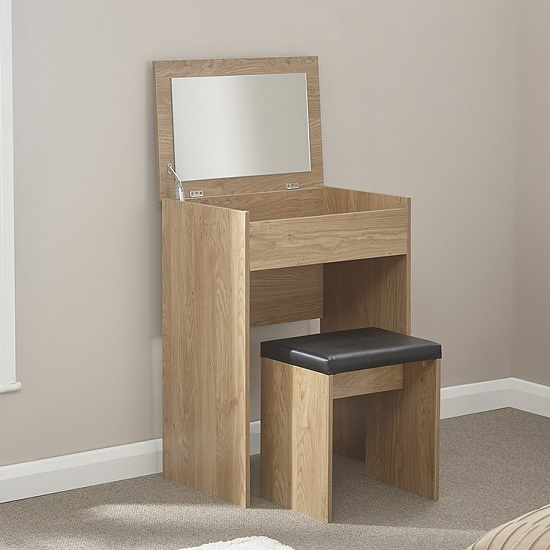 Luana Wooden Dressing Table Set In Oak