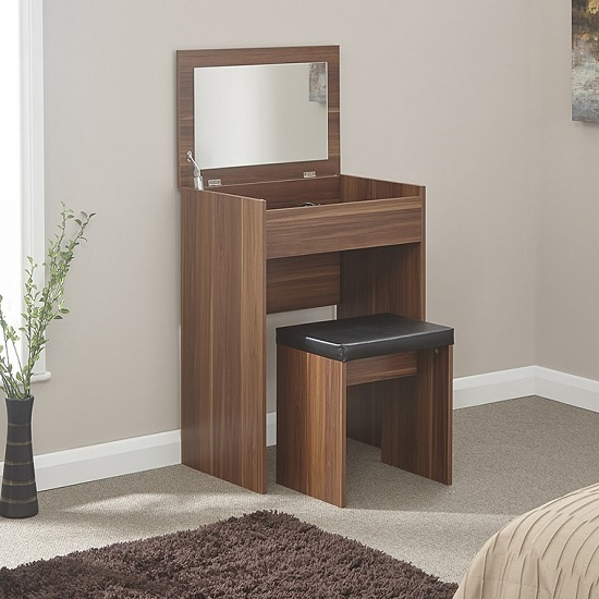 Luana Wooden Dressing Table Set In Walnut