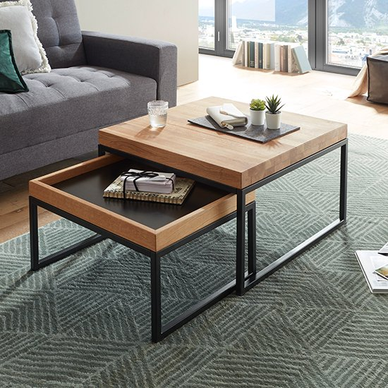 View Lubao wooden storage coffee table in knotty oak