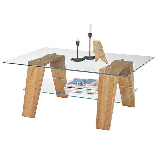 Lublin Clear Glass Coffee Table With Oak Wooden Legs_2