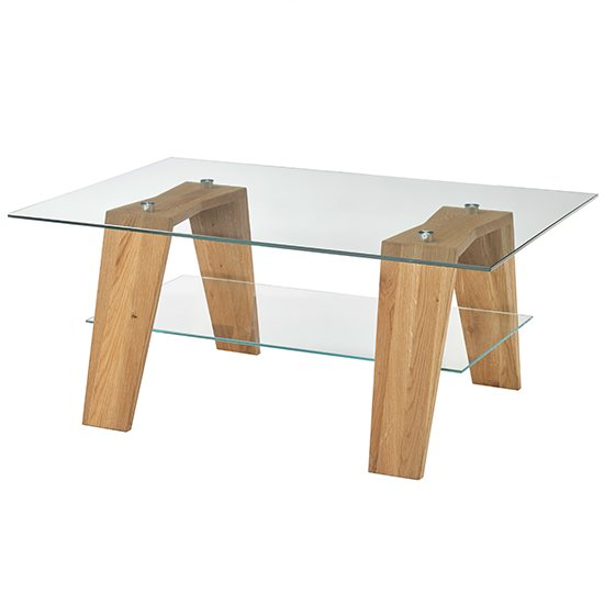Lublin Clear Glass Coffee Table With Oak Wooden Legs_3