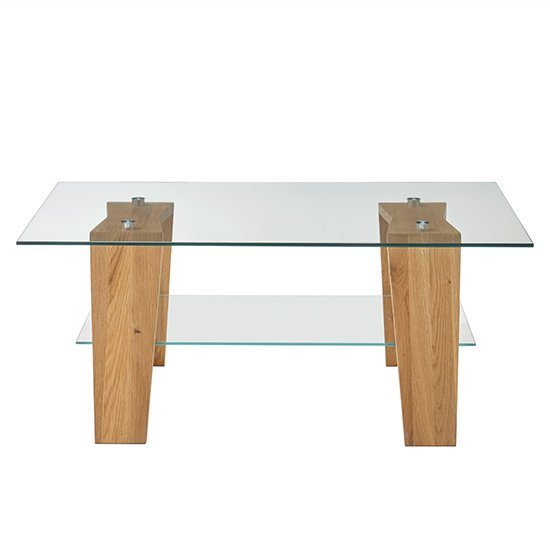 Lublin Clear Glass Coffee Table With Oak Wooden Legs_4