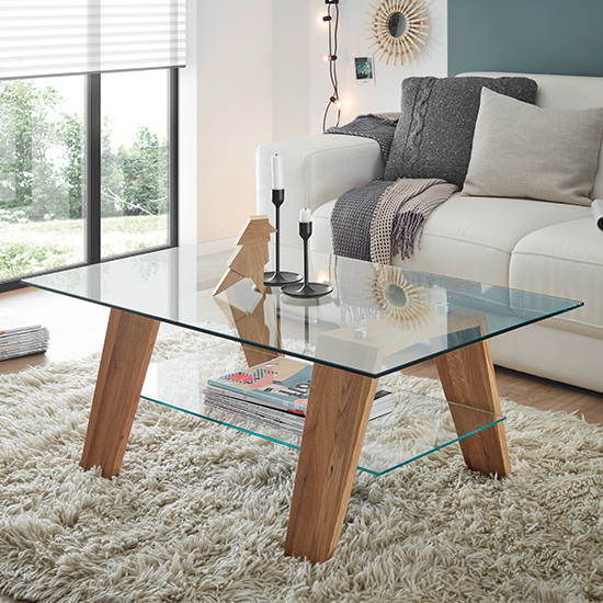 Lublin Clear Glass Coffee Table With Oak Wooden Legs