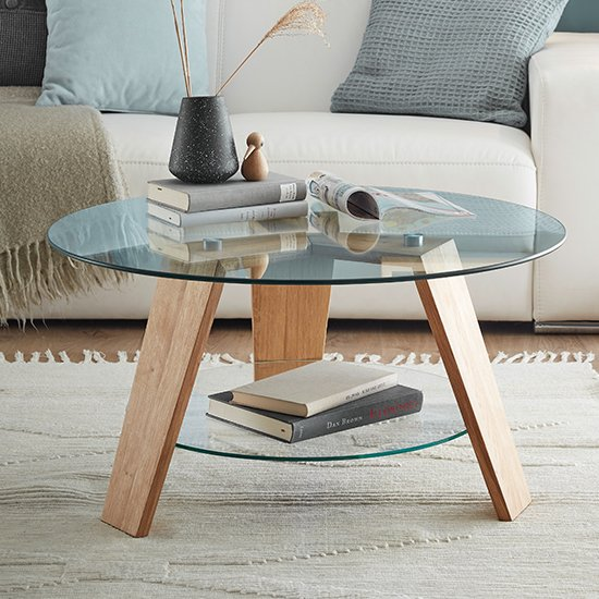 Lublin Clear Glass Round Coffee Table With Oak Wooden Legs