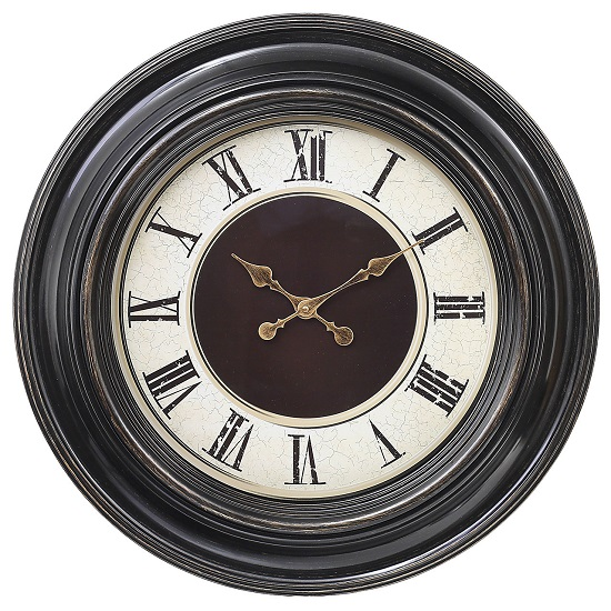 Lublin Wall Clock Round In Brown Frame With Gold Accents
