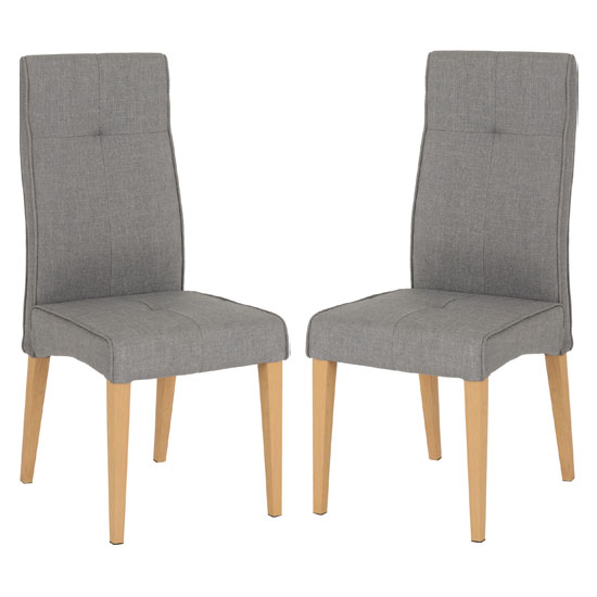 Lucas Grey Fabric Dining Chairs In A Pair