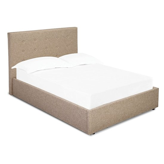 Product photograph showing Lucca Fabric King Size Bed In Beige