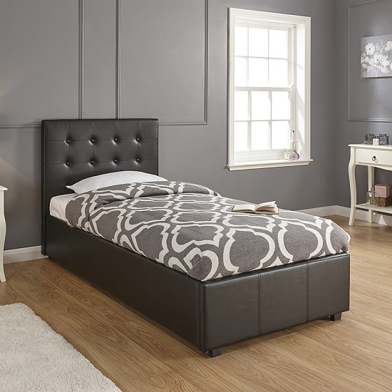 Pleasing Lucca Faux Leather Ottoman Storage Single Size Bed In Black Cjindustries Chair Design For Home Cjindustriesco