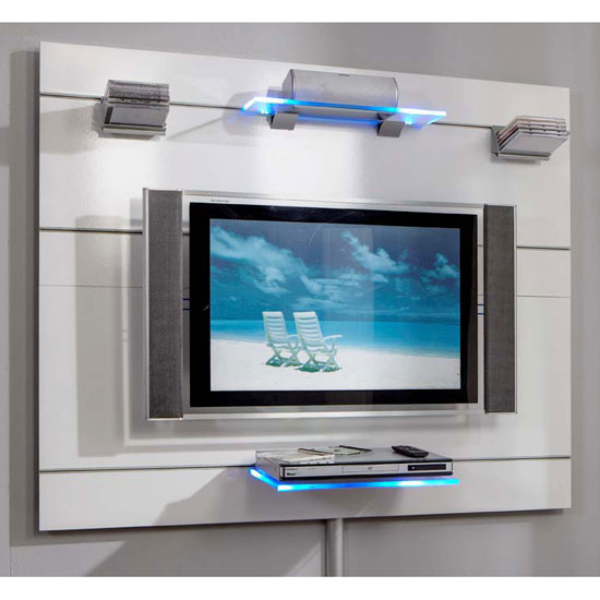 lucent wall set - Combining Glossy Modern Black TV Stand And Attached Bracket With Other Furniture