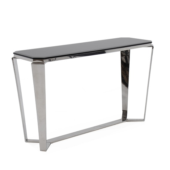 Lucerne Glass Console Table In Black With Stainless Steel Base