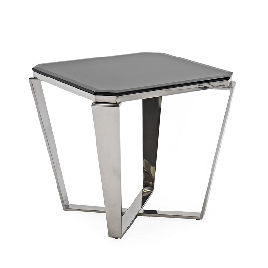 Lucerne Glass Lamp Table In Black With Stainless Steel Base