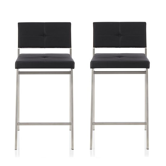 Luciani Modern Bar Stool In Black Faux Leather In A Pair